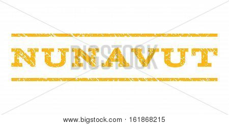 Nunavut watermark stamp. Text tag between horizontal parallel lines with grunge design style. Rubber seal stamp with dust texture. Vector yellow color ink imprint on a white background.