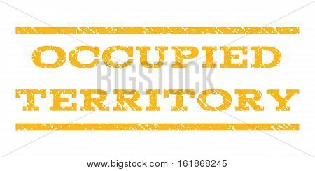 Occupied Territory watermark stamp. Text tag between horizontal parallel lines with grunge design style. Rubber seal stamp with scratched texture.