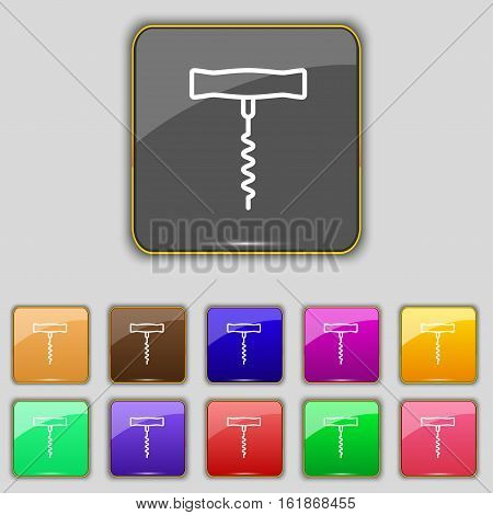 Corkscrew Icon Sign. Set With Eleven Colored Buttons For Your Site. Vector