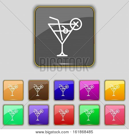 Martini Glass Icon Sign. Set With Eleven Colored Buttons For Your Site. Vector