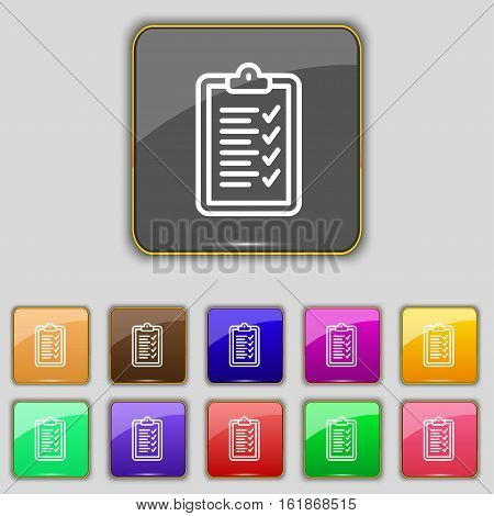 Clipboard Icon Sign. Set With Eleven Colored Buttons For Your Site. Vector