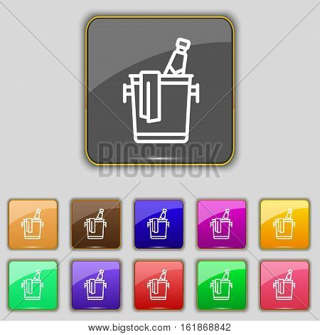 Champagne Icon Sign. Set With Eleven Colored Buttons For Your Site. Vector
