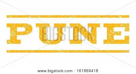 Pune watermark stamp. Text tag between horizontal parallel lines with grunge design style. Rubber seal stamp with unclean texture. Vector yellow color ink imprint on a white background.