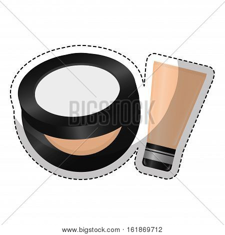face powder and bb cream icon over white background. colorful design. vector illustration