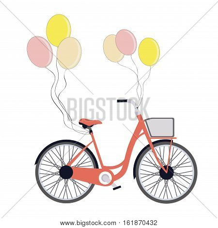 Bicycle with balloons isolated on white. Vintage Bicycle. Romantic Greeting card with cute bike. Vector card with bicycle. Romantic Birthday card.