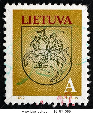 LITHUANIA - CIRCA 1993: a stamp printed in Lithuania shows National Arms circa 1993