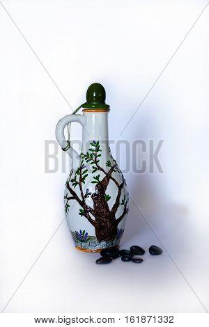 earthen vessel on a dark brown wooden table