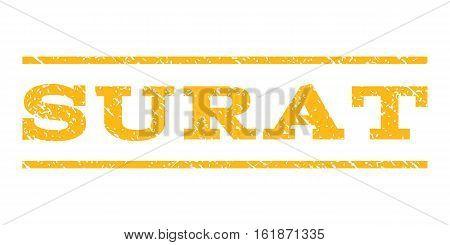 Surat watermark stamp. Text caption between horizontal parallel lines with grunge design style. Rubber seal stamp with unclean texture. Vector yellow color ink imprint on a white background.