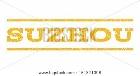 Suzhou watermark stamp. Text caption between horizontal parallel lines with grunge design style. Rubber seal stamp with scratched texture. Vector yellow color ink imprint on a white background.