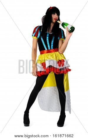 Transvestite man dressed in Sleeping Beauty role from tale holds wine bottle. Isolated over white background