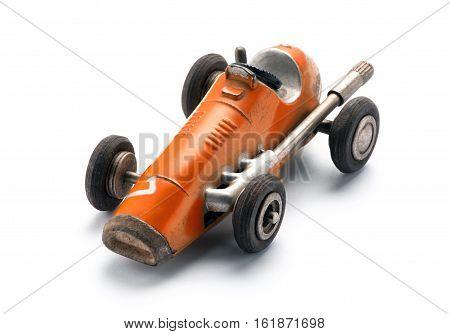 Colorful Orange Vintage Toy Racing Car