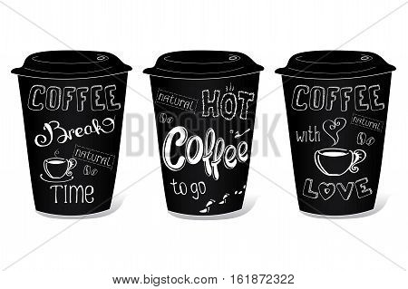 Black coffee cup covered with hand-drawings on the theme of coffee vector illustration on a white background.