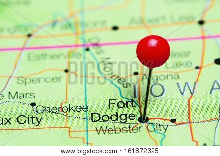 Fort Dodge pinned on a map of Iowa, USA
