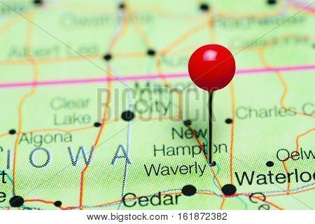Waverly pinned on a map of Iowa, USA