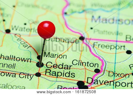 Cedar Rapids pinned on a map of Iowa, USA