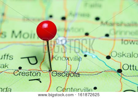 Osceola pinned on a map of Iowa, USA