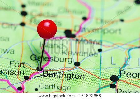 Burlington pinned on a map of Iowa, USA