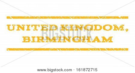 United Kingdom, Birmingham watermark stamp. Text caption between horizontal parallel lines with grunge design style. Rubber seal stamp with dirty texture.
