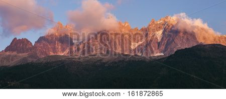 Alpes peaks in Chamonix area. Chamonix Auvergne-Rhone-Alpes France.