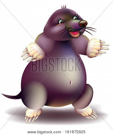Illustration of cute mole on the white background.  Vector cartoon image.