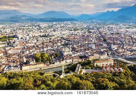 Grenoble - aerial panorama of the city. Grenoble Auvergne-Rhone-Alpes France.
