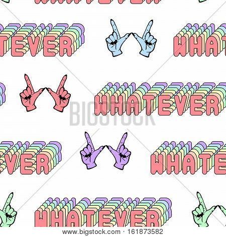 Quirky seamless pattern with comic-style phrase 'Whatever' and colorful hand gestures. Fashion patch badges, pins, stickers isolated on white background. Retro colors. Cartoon 80s-90s style.