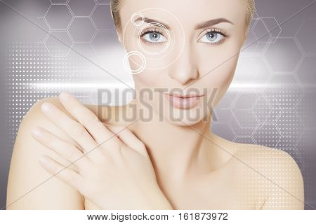 portrait of  young woman in virtual reality