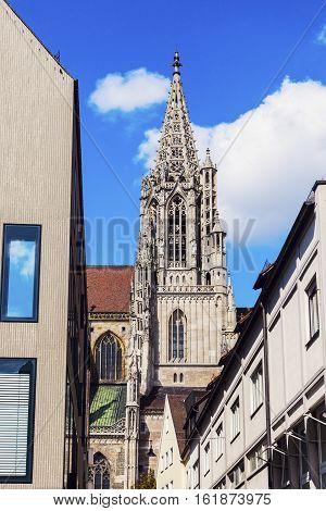 Monumental Ulm Minster. Ulm Baden Wurttemberg Germany.