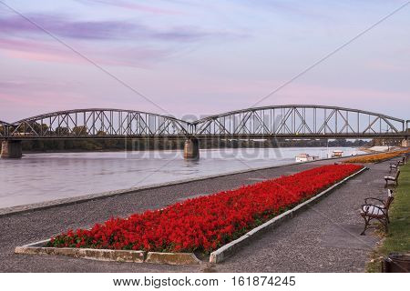 Bridge on Vistula River in Torun. Torun Kuyavian-Pomeranian Poland