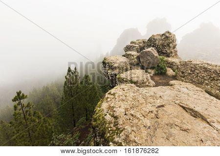 Trail to Roque Nublo. Gran Canaria Canary Islands Spain.
