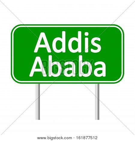 Addis Ababa road sign isolated on white background.