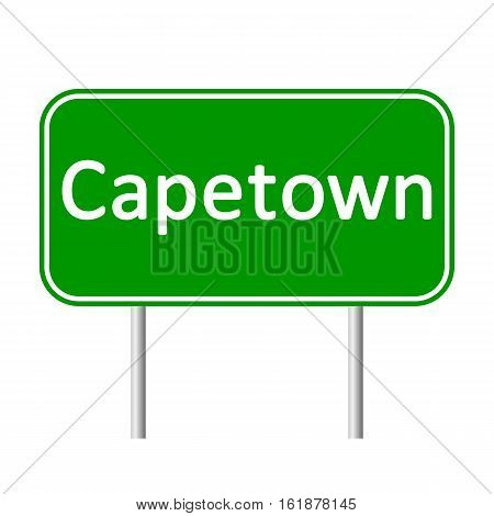 Capetown road sign isolated on white background.
