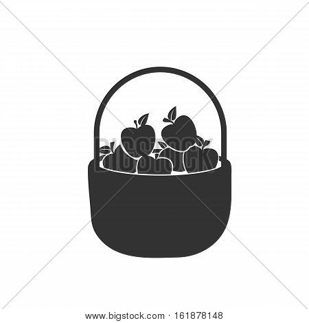 Apples in a basket icon. Apples in a basket Vector isolated on white background. Flat vector illustration in black. EPS 10