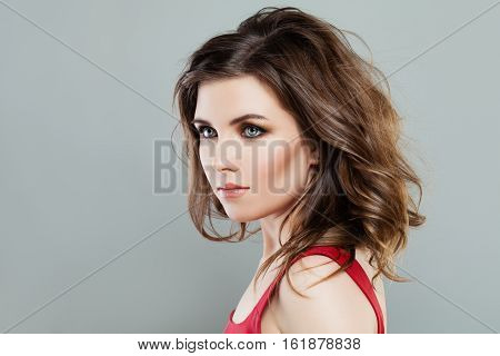 Beautiful Woman with Makeup and Long Bob Hairstyle
