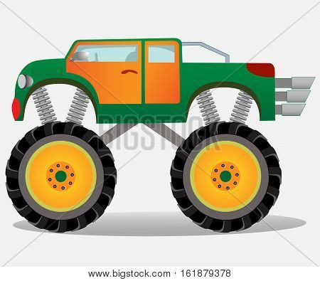 Monster truck with big wheels. Car vehicle in green and orange. Vector realistic illustration.