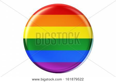 badge with rainbow gay flag 3D rendering isolated on white background