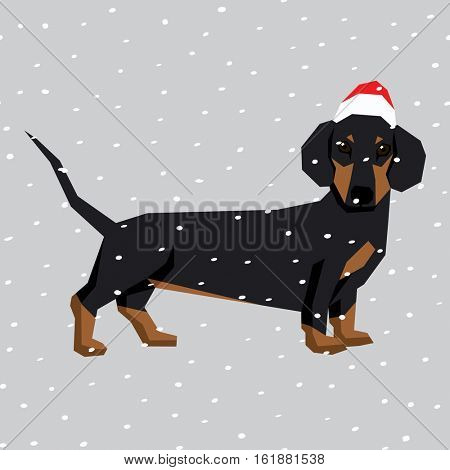 Vector polygon dog collection. Dachshund dog in Christmas Santa hat.