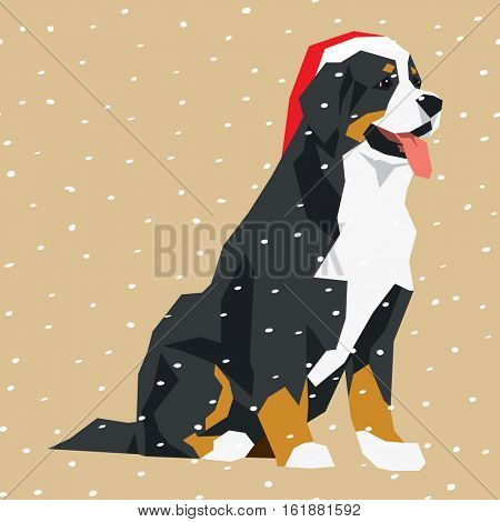 Vector polygon dog collection. Bernese mountain dog in Christmas Santa hat.
