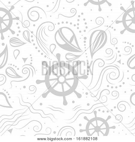 Vector seamless pattern marine life with helm and waves. Underwater world. The journey by sea. Template for background, print, banner, label, poster, fabric, packaging. Flat design.