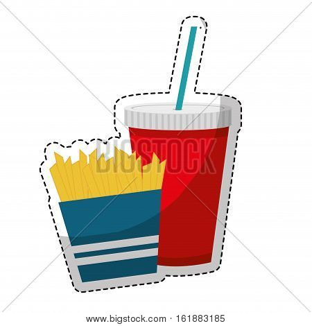 french fries box and soft drink   icon over white background. fast food concept. colorful design. vector illusttration