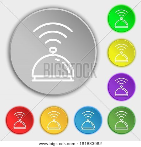 Tray Icon Sign. Symbol On Eight Flat Buttons. Vector