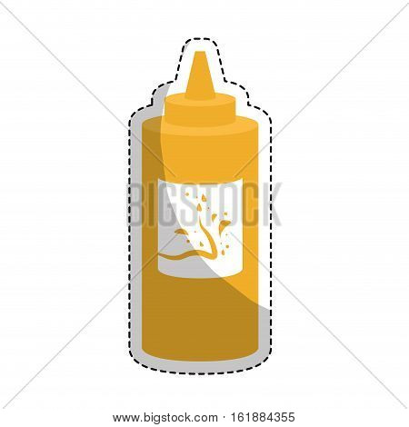 mustard sauce bottle icon over white background. colorful design. vector illustration