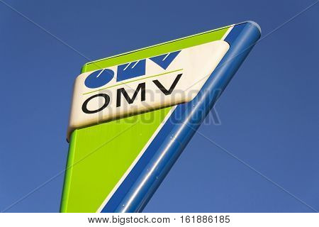 Prague, Czech Republic - December 16: Omv International Oil And Gas Company Logo On Fuel Station On