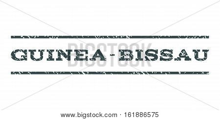Guinea-Bissau watermark stamp. Text tag between horizontal parallel lines with grunge design style. Rubber seal stamp with dirty texture. Vector soft blue color ink imprint on a white background.