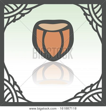 Vector outline hazelnut food icon in hand drawn frame. Elements for mobile concepts and web apps. Modern infographic logo and pictogram.