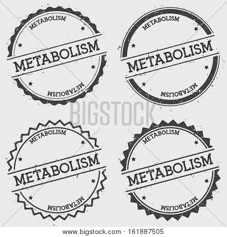 Metabolism Insignia Stamp Isolated On White Background. Grunge Round Hipster Seal With Text, Ink Tex