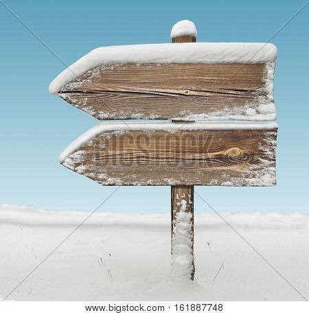 Wooden Direction Sign With Snow And Sky Bg. Two_arrows-one_direction