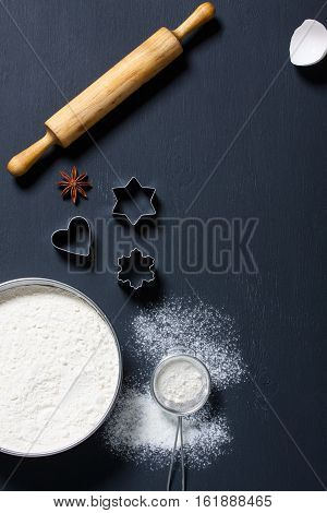 Baking Background With Floor And Kitchen Tools