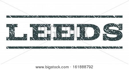 Leeds watermark stamp. Text tag between horizontal parallel lines with grunge design style. Rubber seal stamp with unclean texture. Vector soft blue color ink imprint on a white background.