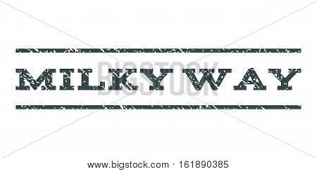 Milky Way watermark stamp. Text caption between horizontal parallel lines with grunge design style. Rubber seal stamp with dirty texture. Vector soft blue color ink imprint on a white background.